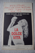 La Dolce Vita, US Window card, Federico Fellini, Anita Ekberg, '61